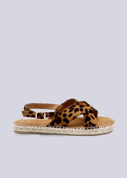 Sandalen mit Leo-Print, braun