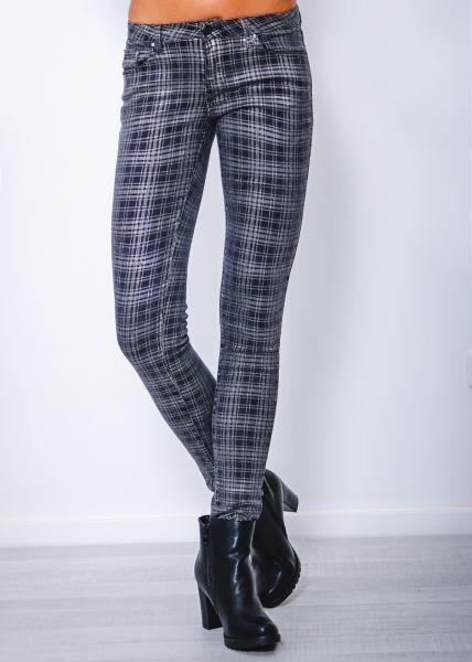 Karierte Low Waist Jeans, grau