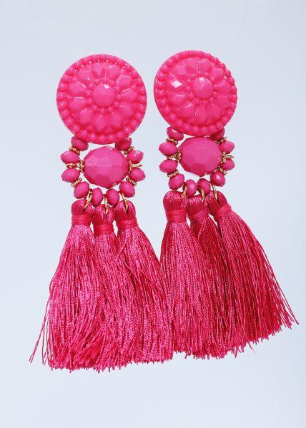 Ohrstecker mit Quasten, pink
