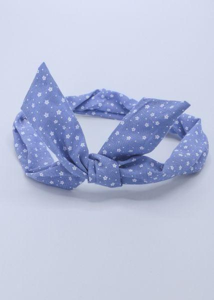 Geblümtes Haarband mit Draht, hellblau