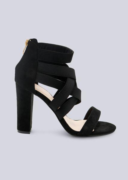 High Heels mit Gummibändern, schwarz