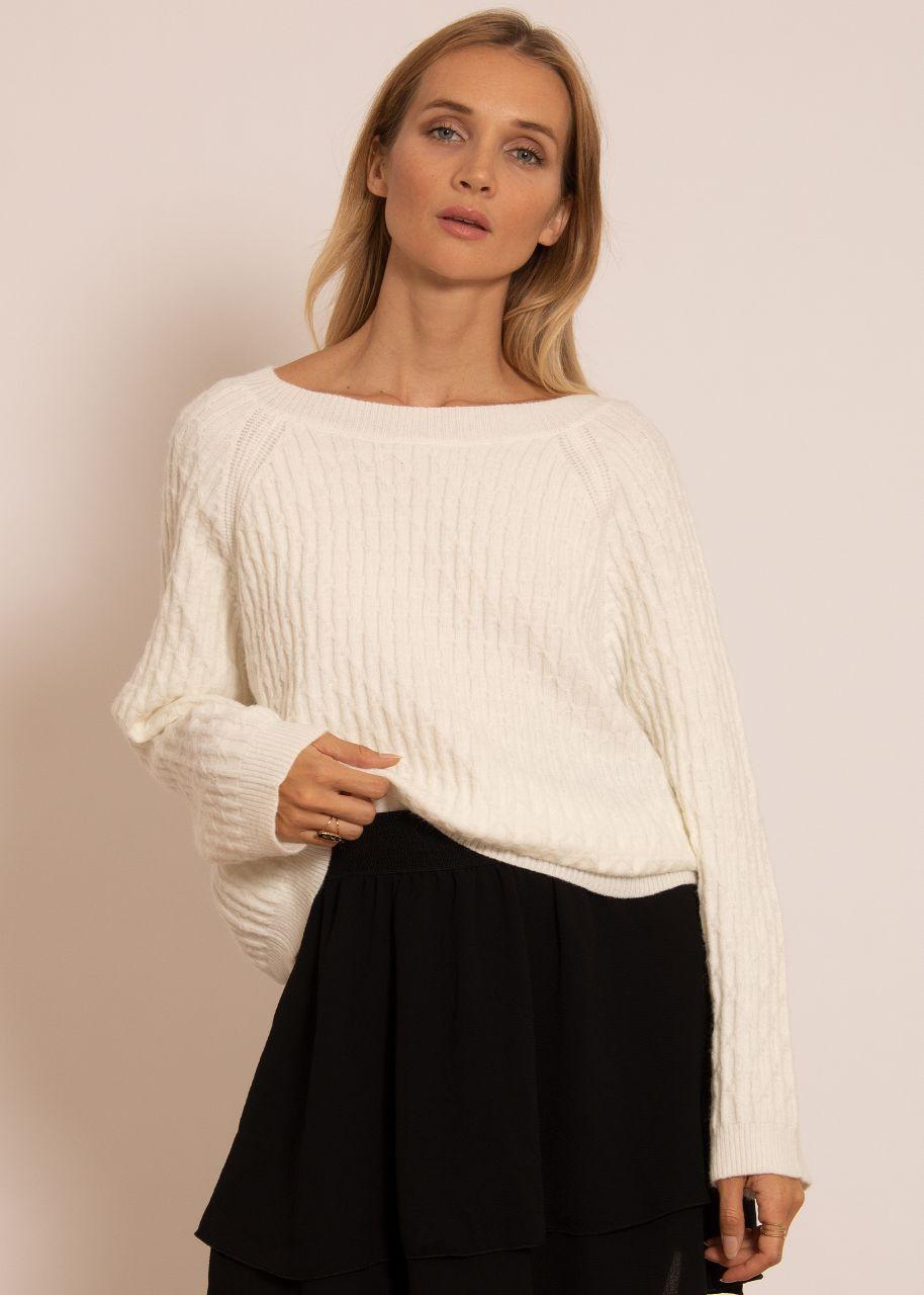 Raglan-Pullover mit Muster, offwhite