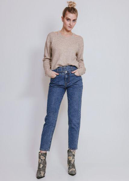 Mom-Jeans mit Gürtel, blau