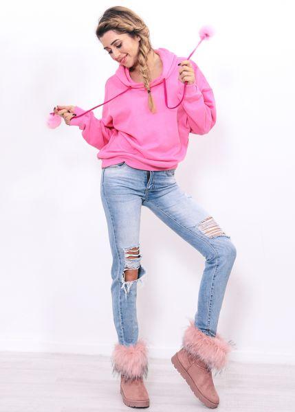 Hoodie mit Fake Fur Bommeln, pink