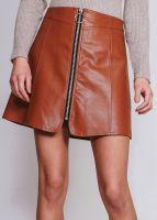 Lederrock mit Reißverschluss, cognacbraun