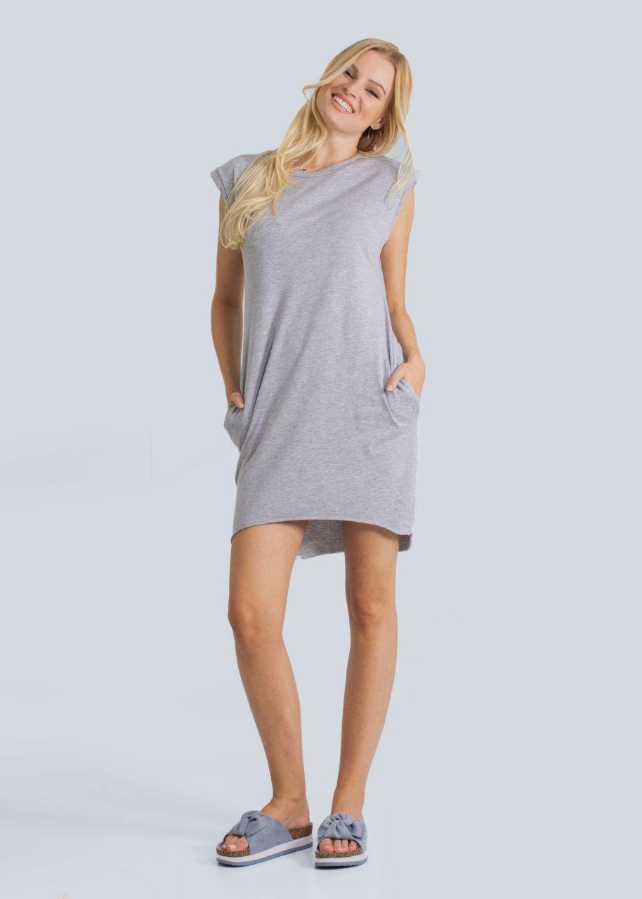 Jersey-Kleid mit Schulterpolster, grau