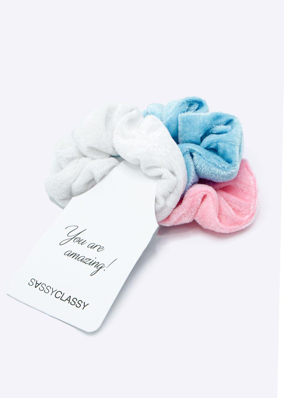 3er Set Scrunchies, hellblau/rosa/weiß