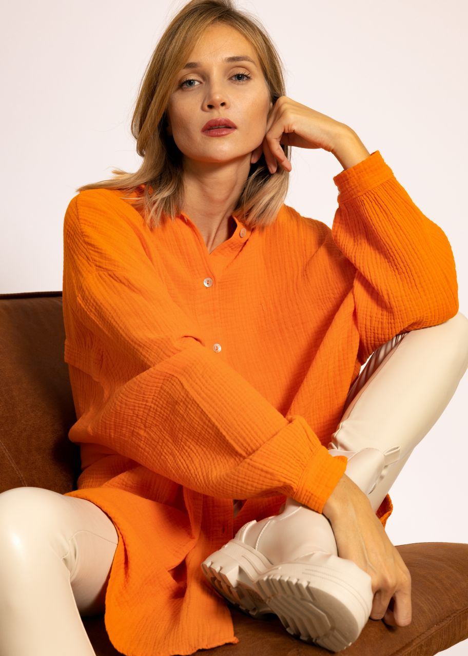 Ultra oversize Blusenhemd, orange