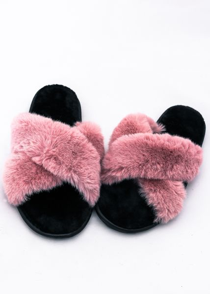 Fake Fur Sliders, rosa