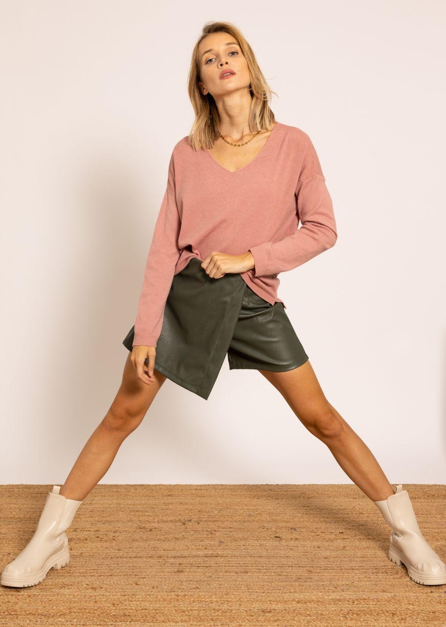 Leder-Shorts mit Überschlag, grün