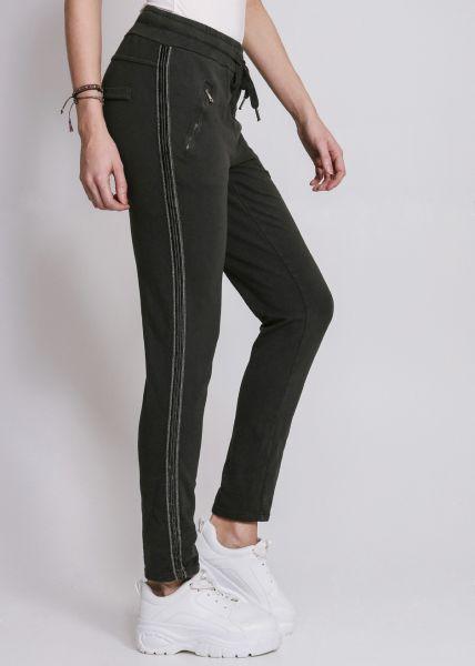 Loungepants mit silbernen Streifen, grau