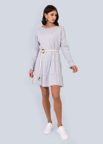 Jersey-Kleid mit Gürtel, grau