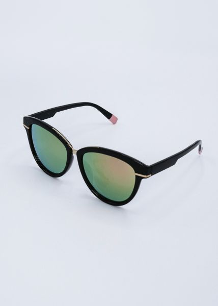 Sonnenbrille mit Spiegelgläsern, schwarz