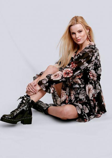 Volants-Kleid mit Blumen-Print, schwarz