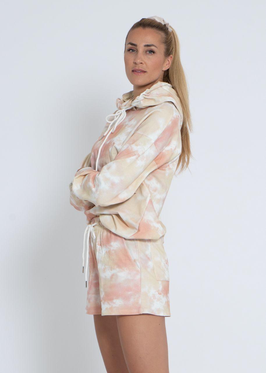 Set aus Hoodie und Shorts, beige/rosa