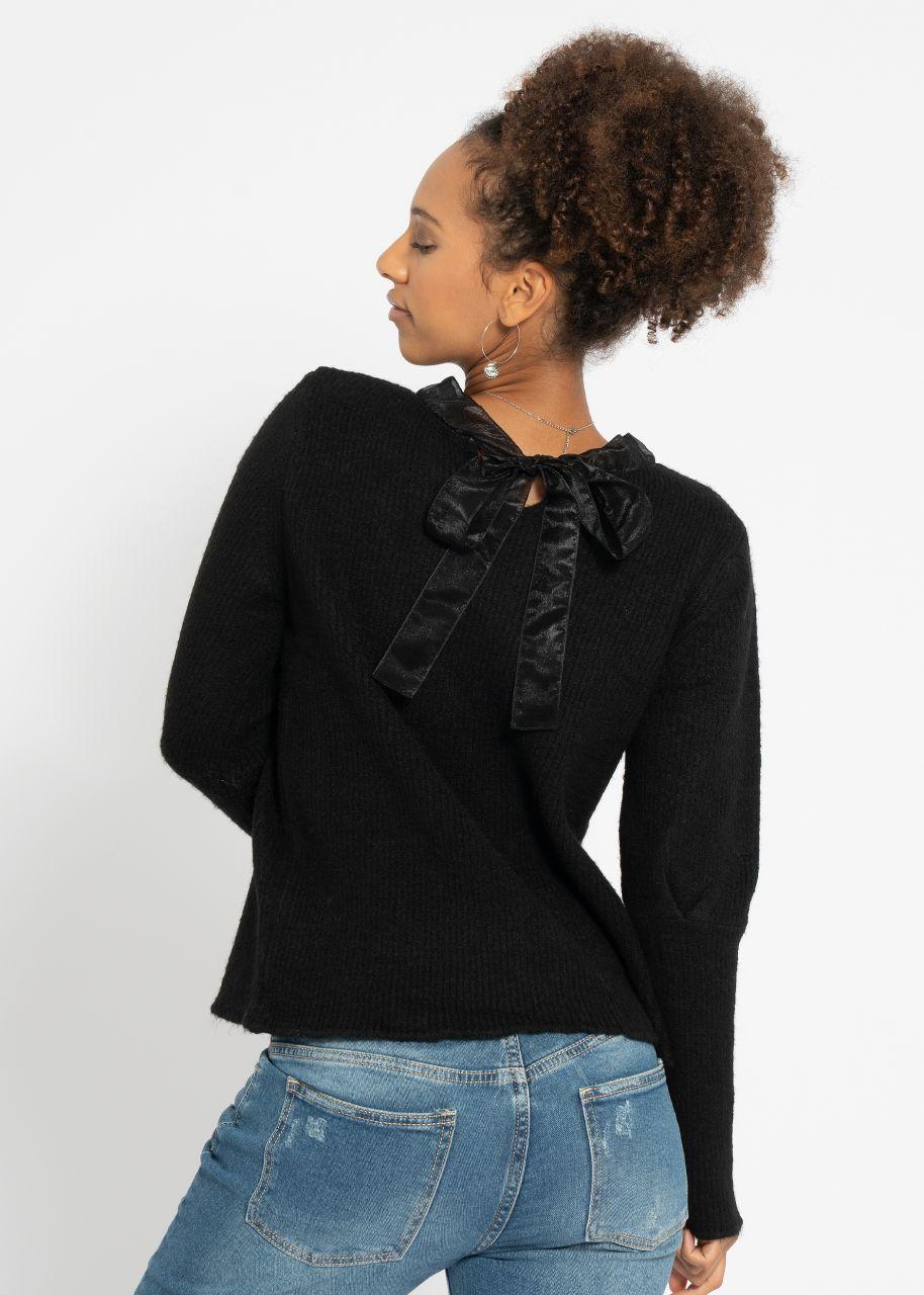 Pullover mit Organzaschleife, schwarz