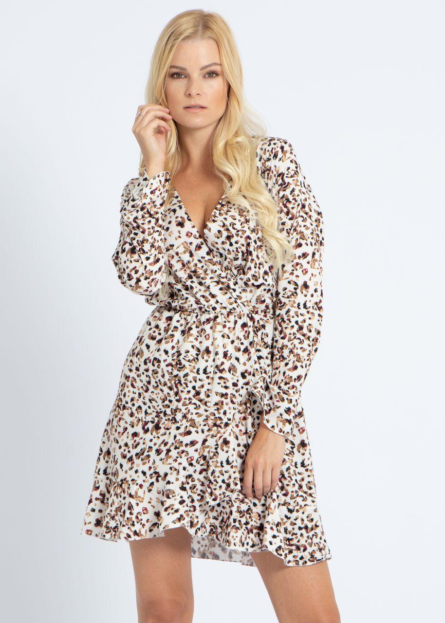 Kleid mit Wickel-Optik und Animal-Print, beige