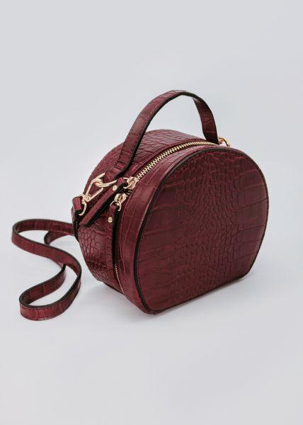 Box-Bag in Kroko, weinrot