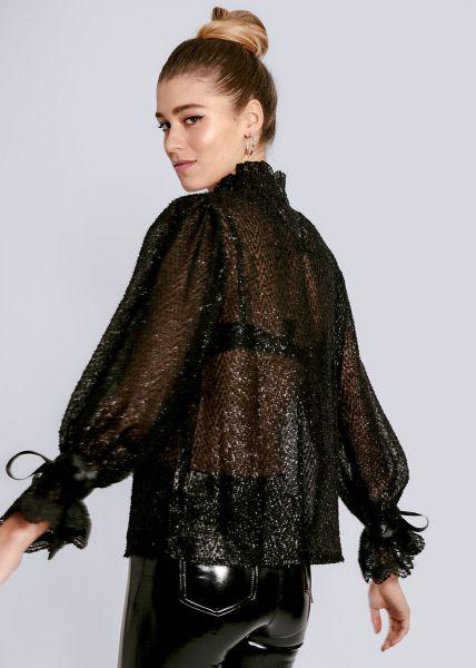 Transparente Bluse mit Schimmer, schwarz