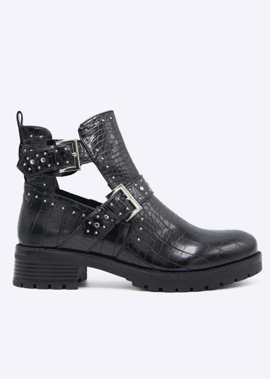 Kroko-Cut-Out Boots mit Nieten, schwarz