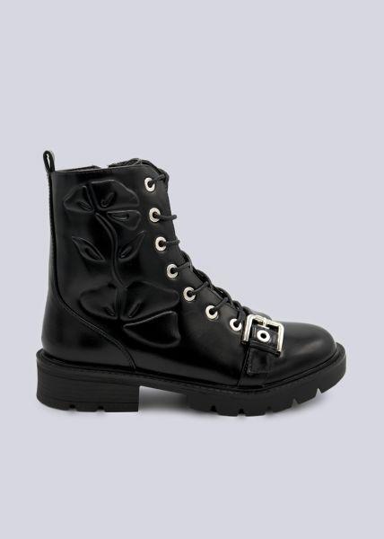 Plateau-Boots mit Motiv an der Seite, schwarz