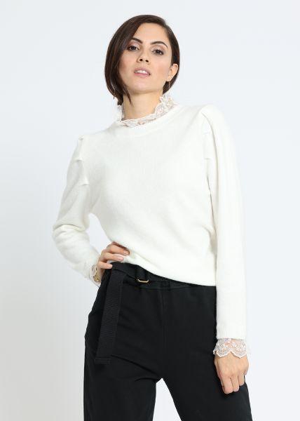 Pullover mit Spitzenkragen, offwhite