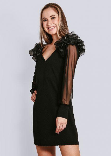 Kleid mit Organza-Rüschen, schwarz