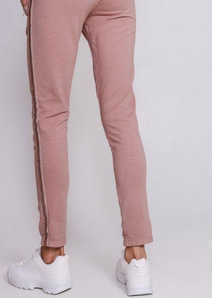Loungepants mit silbernen Streifen, rosa