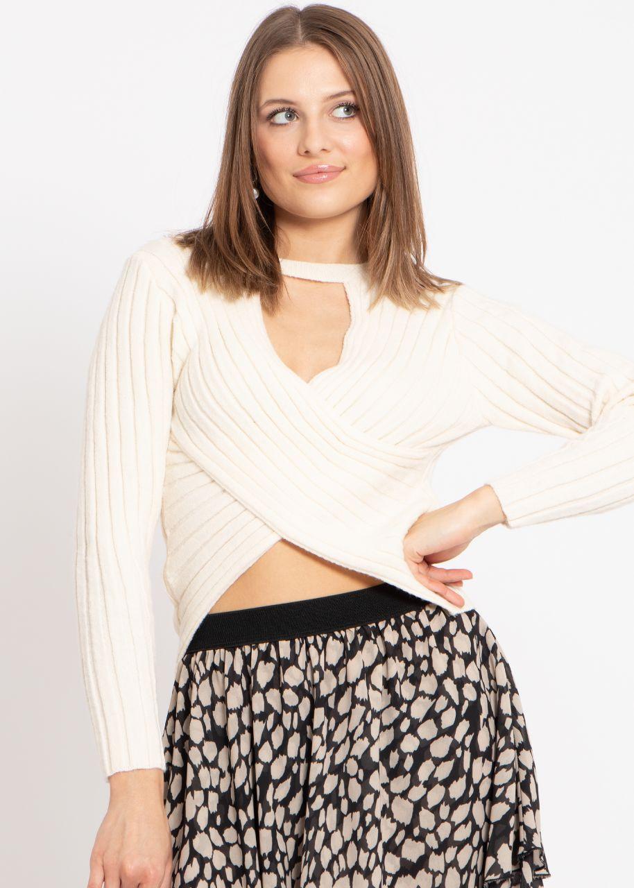 Crop-Pullover mit Wickeloptik, offwhite