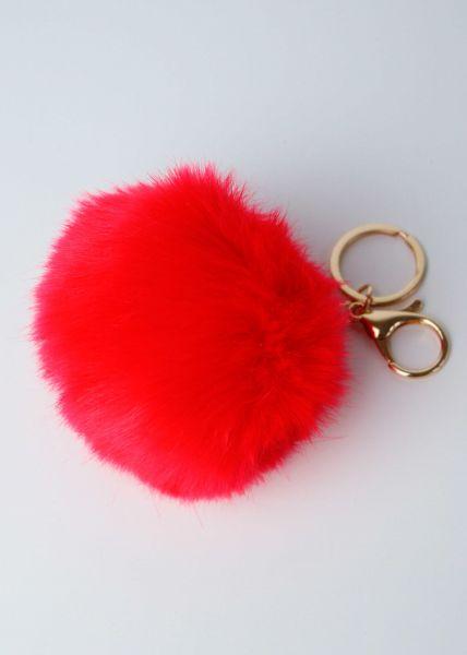 Großer Fake Fur Anhänger, rot