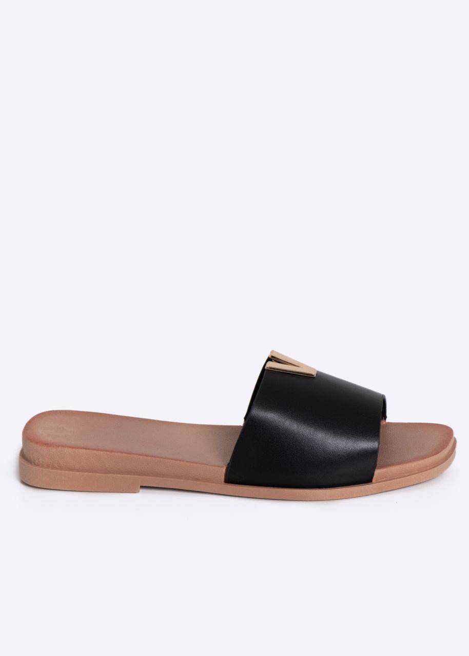 Flats mit gold Schmuckdetail, schwarz