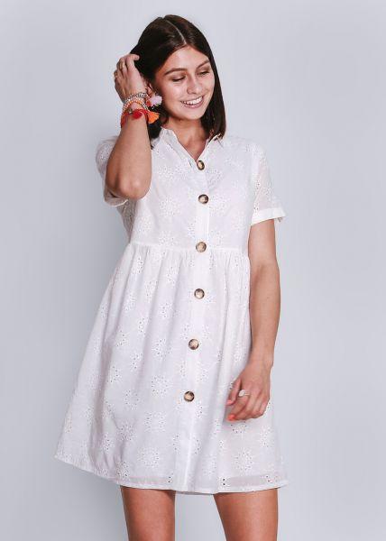 Baumwoll-Kleid, vorne geknöpft, weiß