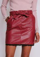 Lederrock mit Spitze, rot