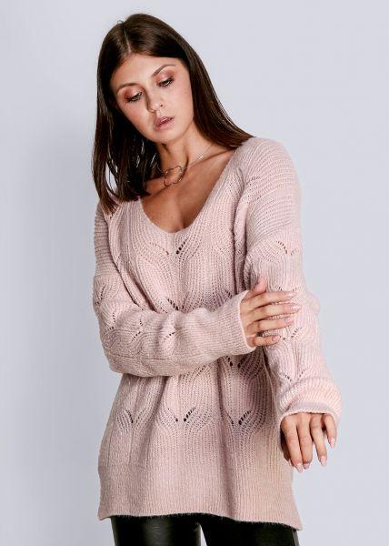 Luftig gestrickter Pullover, rosa