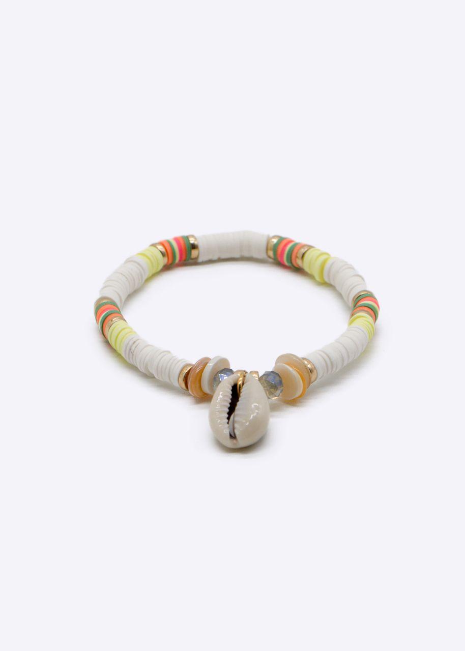 Armband mit Muschelanhänger, weiß