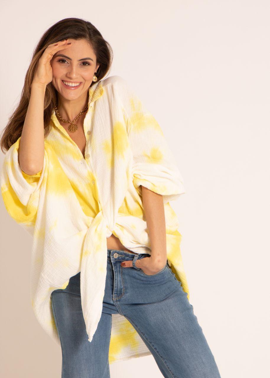 Ultra oversize Batik Blusenhemd, gelb