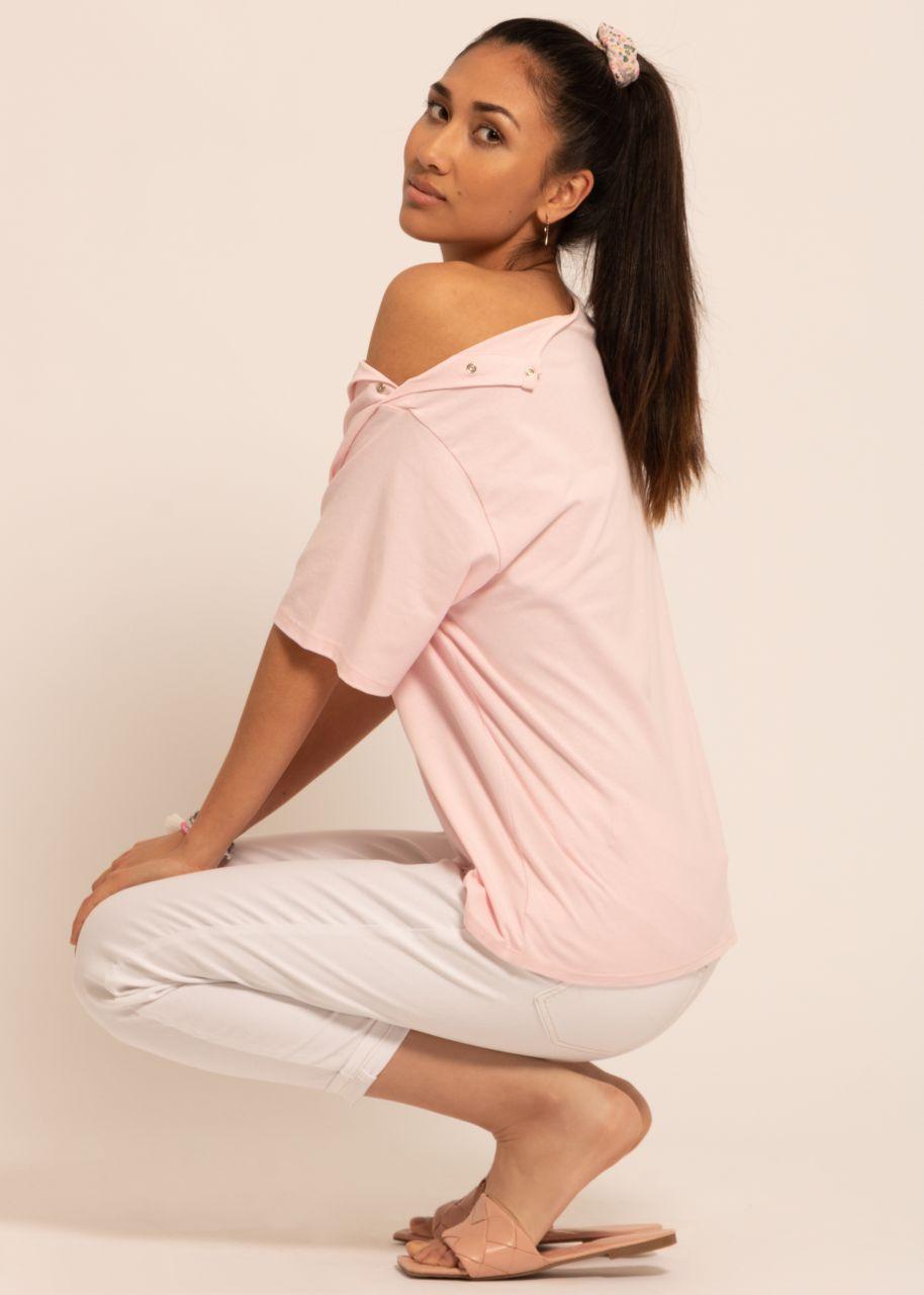 Oversize T-Shirt mit Druckknöpfen, rosa