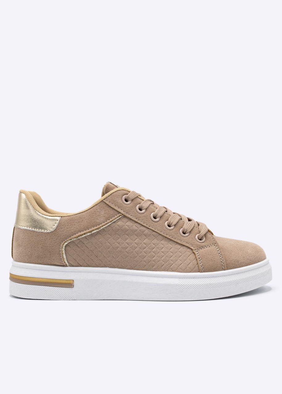 Sneaker mit Prägung, beige