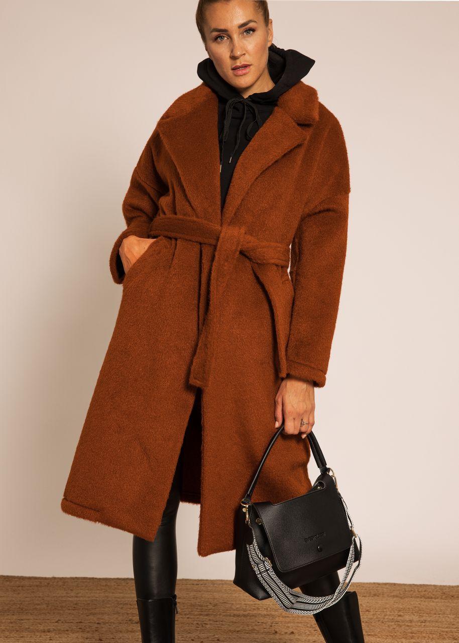 Flausch-Mantel mit Bindegürtel, cognac