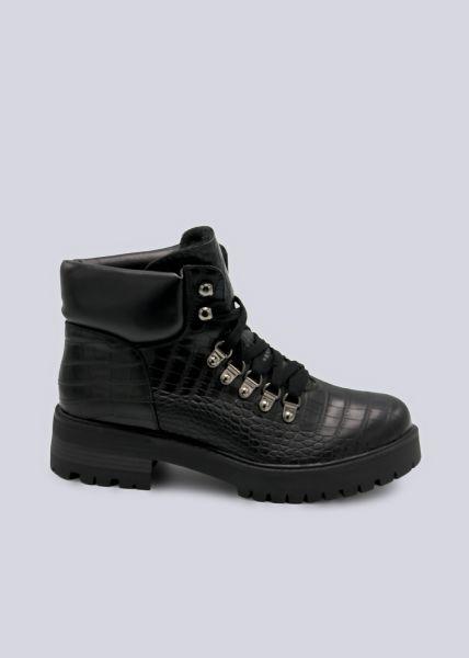Trekking Boots in Kroko-Optik, schwarz