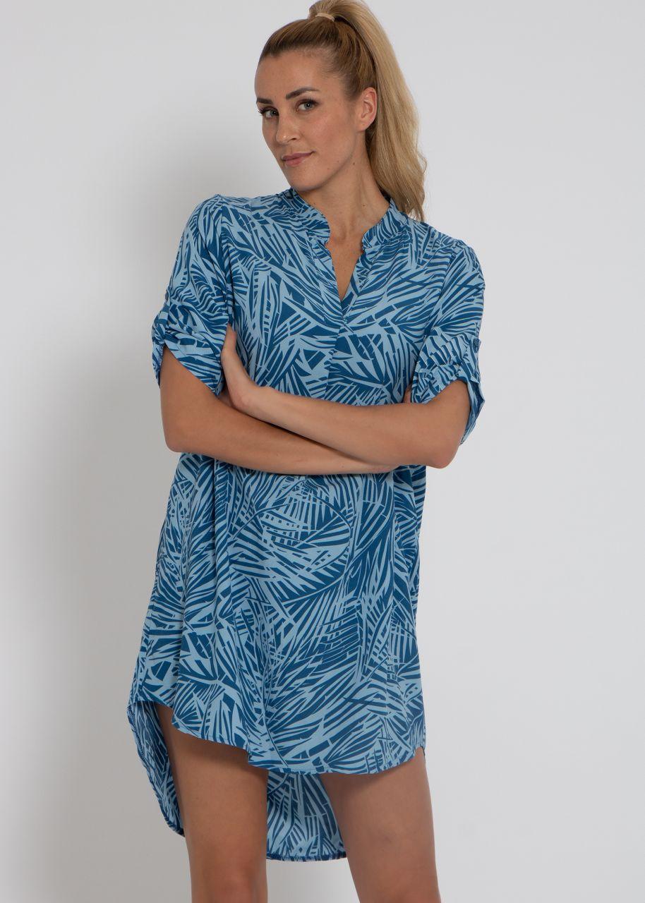 Tunika-Kleid mit Palmen-Print, blau