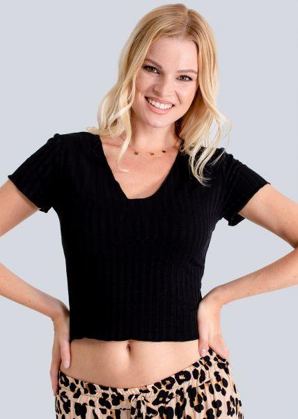 Crop-Shirt mit V-Ausschnitt, schwarz