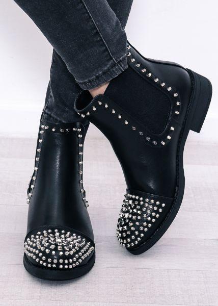 Chelsea-Boots mit Nieten besetzt, schwarz