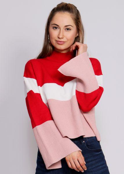 Streifen-Pullover, rot