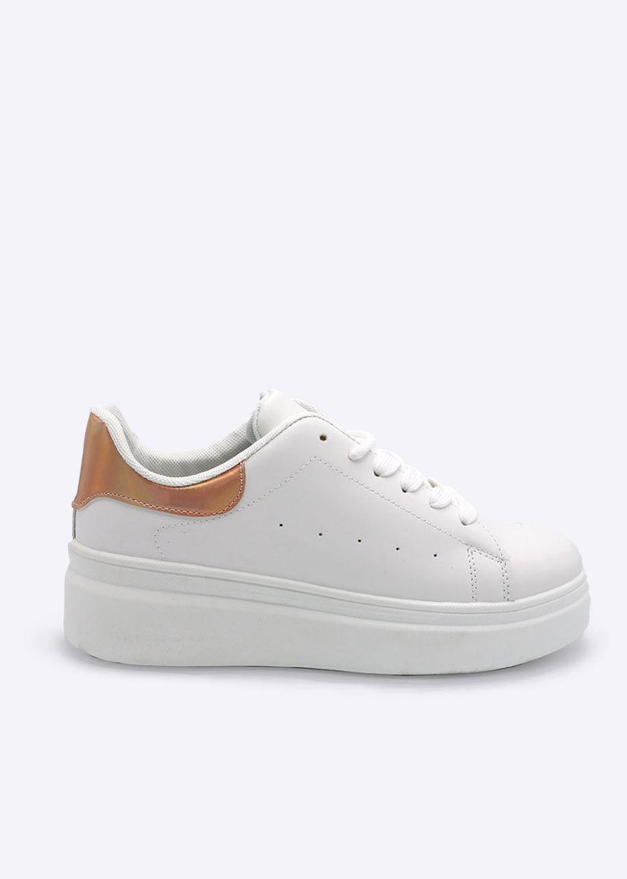 Sneaker mit metallic rosa Ferse, weiß