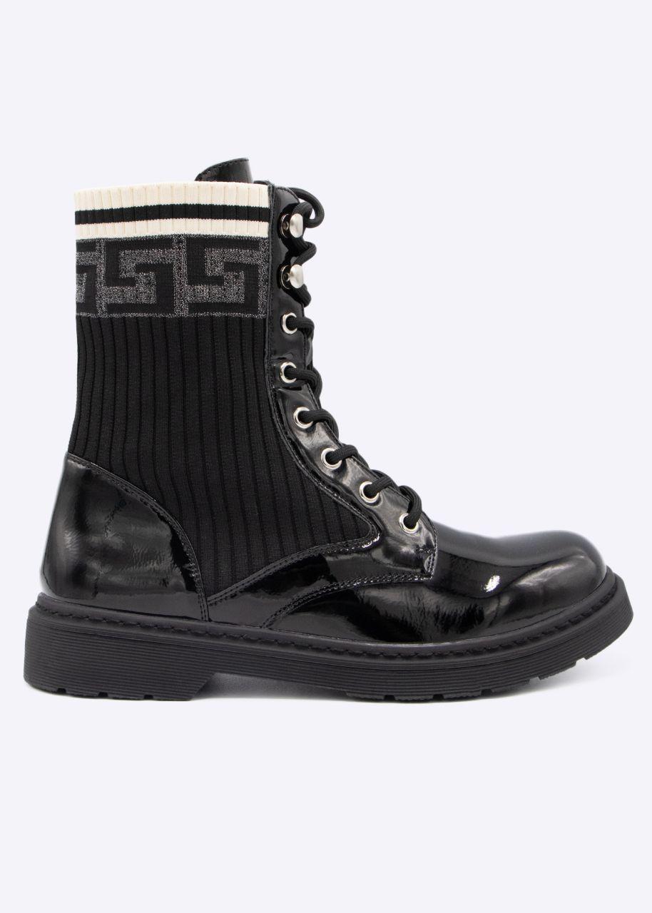 Lack-Boots mit Strickeinsatz, schwarz