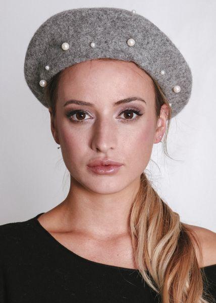 Baskenmütze mit Perlen, grau