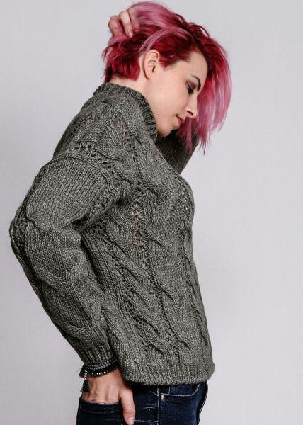Pullover mit Zopfmuster, khaki