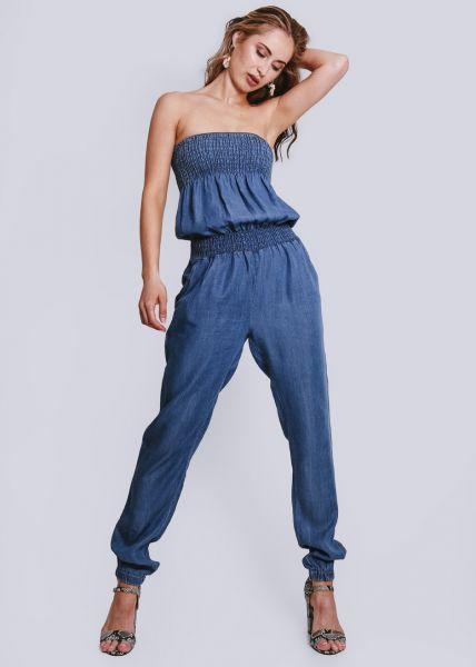 Schulterfreier Jumpsuit, jeansblau