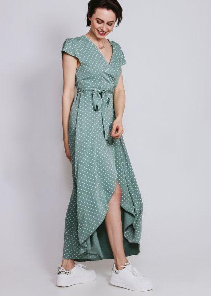 Maxi-Wickelkleid mit Tupfen, grün